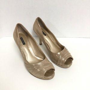 Alex Marie shimmer peep toe heel women's 8.5 gold